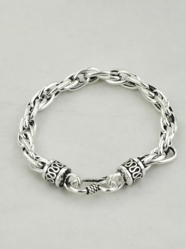 18.5cm(17.3g) Vintage Sterling Silver With Simple Retro Hollow Chain Bracelets