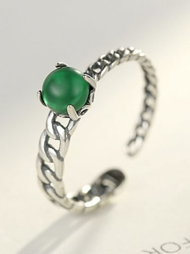 925 Sterling Silver Turquoise Green Geometric Minimalist Band Ring