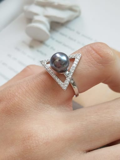 925 Sterling Silver impression pearl triangle free size Ring