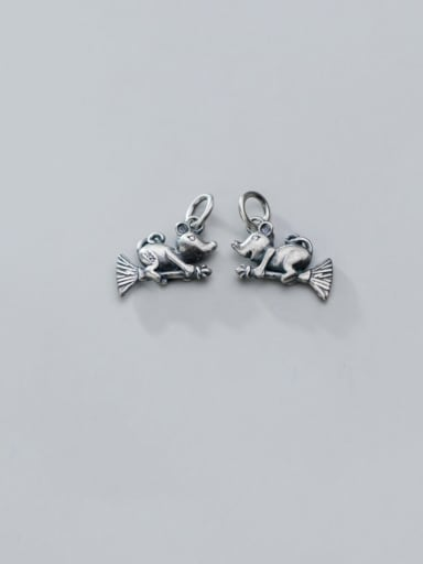 925 Sterling Silver With Black Gun Plated Cute Mouse  Pendant Diy Accessories