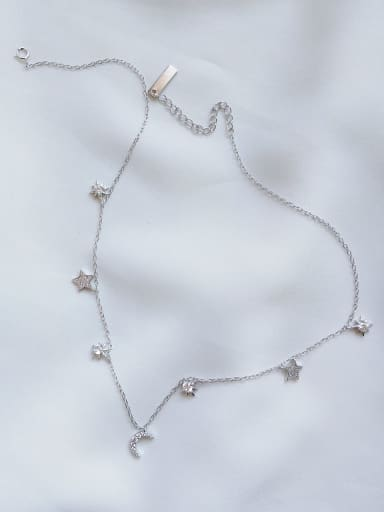 925 Sterling Silver Cubic Zirconia White Star Vintage Choker Necklace