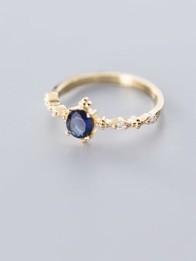 925 Sterling Silver Cubic Zirconia Black Round Dainty Free Size Ring
