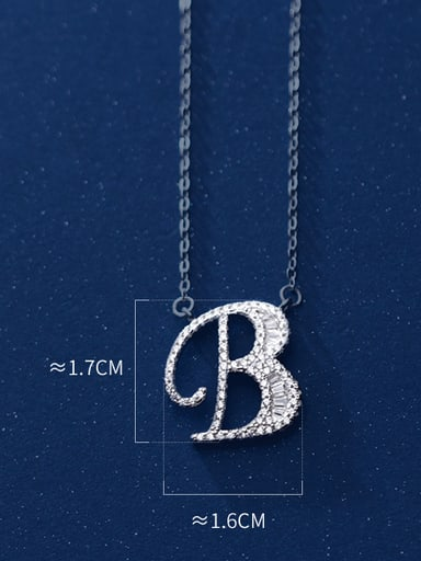 Letter B 925 Sterling Silver Simple Fashion full diamond letters pendant  Necklace