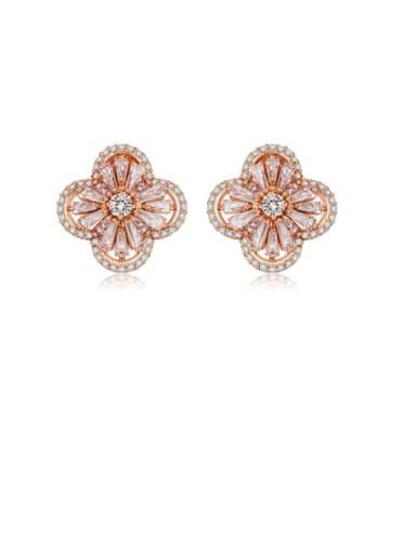 Copper Cubic Zirconia Flower Dainty Stud Earring