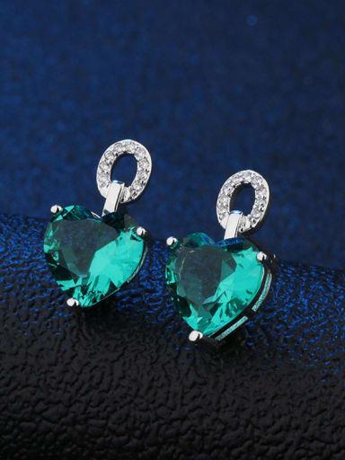 Copper water green Copper Glass Stone Heart Dainty Stud Earring
