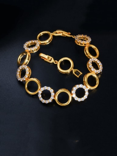 gold Copper Cubic Zirconia Geometric Minimalist Bracelet