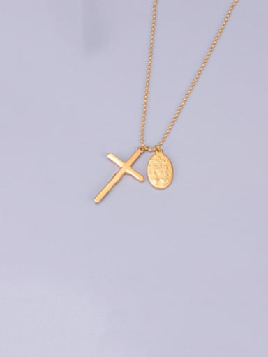 Titanium Smooth  Cross Classic Choker Necklace
