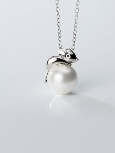 925 Sterling Silver Imitation Pearl  Cute Mouse   Pendant   Necklace