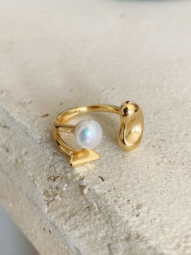 925 Sterling Silver Imitation Pearl  Irregular Ethnic Band Ring
