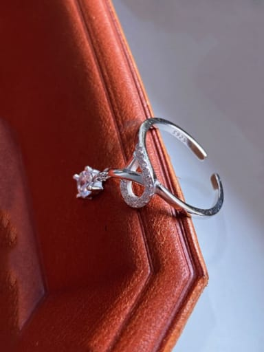 925 Sterling Silver Crown Single Zirconium Diamond Ring