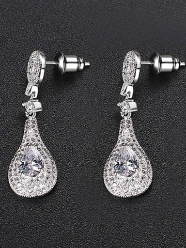 Transparent t02b06 Copper Cubic Zirconia Geometric Dainty Drop Earring