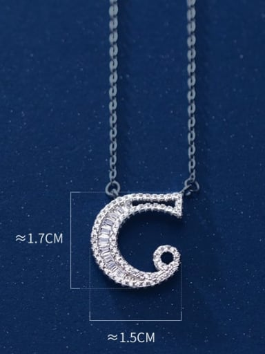 letter C 925 Sterling Silver Simple Fashion full diamond letters pendant  Necklace