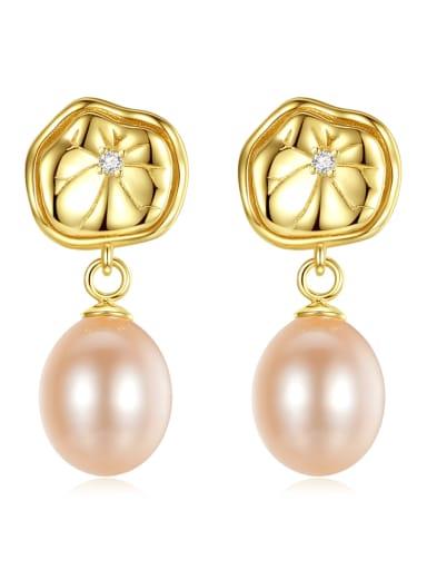925 Sterling Silver Freshwater Pearl Flower Dainty Drop Earring