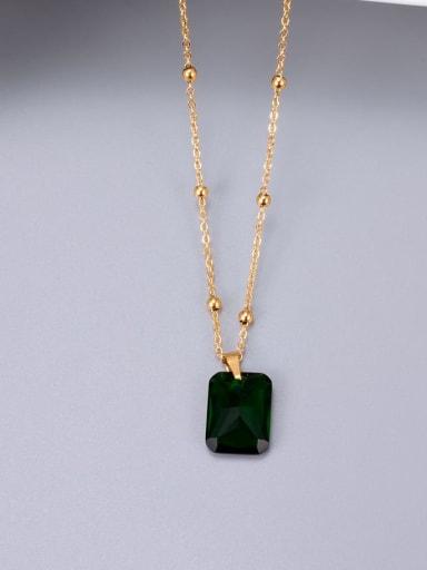 Titanium Glass stone Geometric Minimalist Necklace