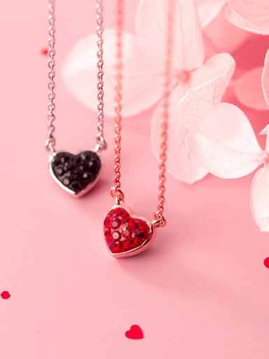 925 Sterling Silver Rhinestone black Heart Necklace
