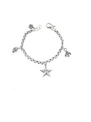 Vintage Sterling Silver With Pentagram Crown Retro Multi Pendant Personality Bracelet