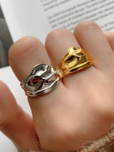 925 Sterling Silver geometric minimalist irregular  free size Ring