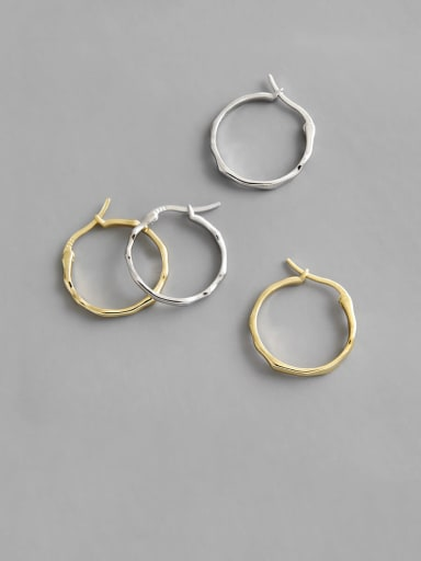 925 Sterling Silver With Gold Plated Simplistic Irregular Hoop Earrings