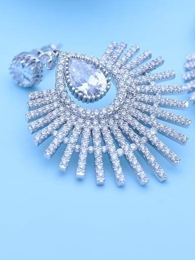 Platinum t09g16 Copper Cubic Zirconia Multi Color Flower Luxury Drop Earring