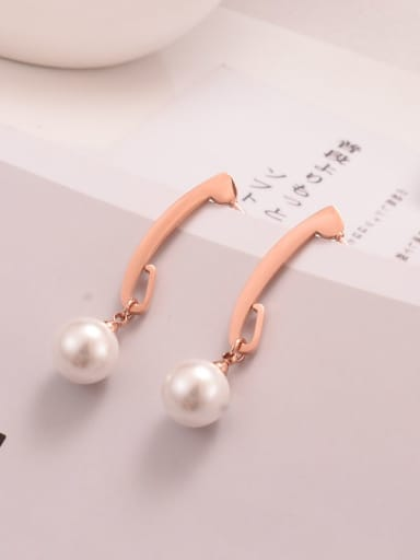 Titanium Imitation Pearl White Round Minimalist Drop Earring