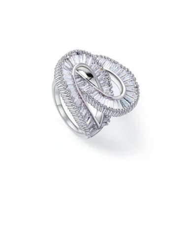 Copper Cubic Zirconia White Irregular Luxury Band Ring