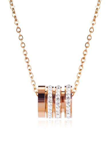 Small waist 1641 Titanium Rhinestone Number Minimalist Necklace