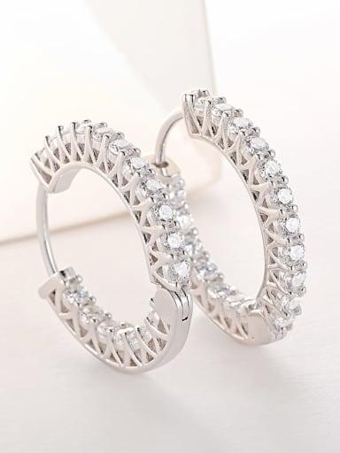 Platinum 925 Sterling Silver Cubic Zirconia Geometric Luxury Hoop Earring