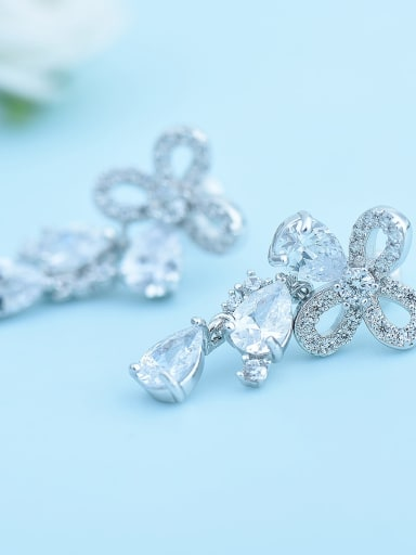 Platinum t09d19 Copper Cubic Zirconia Multi Color Flower Dainty Drop Earring