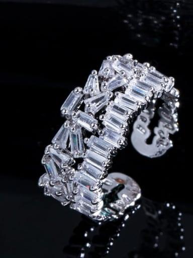 platinum Copper Cubic Zirconia Geometric Luxury Cocktail Ring