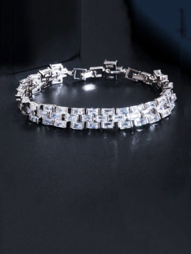 platinum Copper Cubic Zirconia Geometric Luxury Bracelet