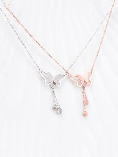 Titanium Rhinestone White Butterfly Cute Choker Necklace