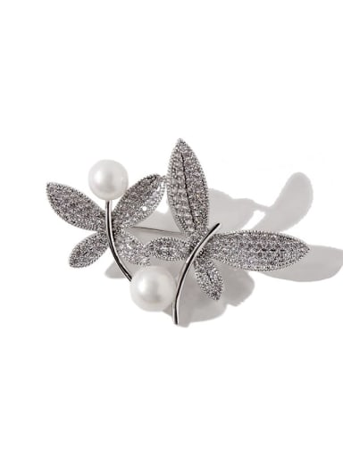 silvery Copper Cubic Zirconia White Butterfly Luxury Brooches