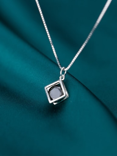 925 Sterling Silver With Platinum Plated Minimalist Geometric Necklaces