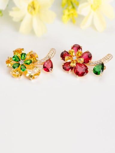 Copper Cubic Zirconia Multi Color Flower Luxury Brooch
