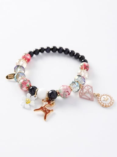 C blue  Department Zinc Alloy Imitation Pearl Multi Color Round Bohemia Charm Bracelets