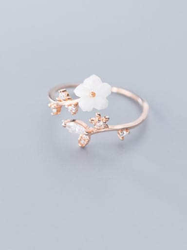 925 Sterling Silver Acrylic White Flower Minimalist Free Size Ring