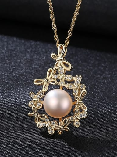 Purple 5e02 925 Sterling Silver Freshwater Pearl Zircon flower pendant Necklace