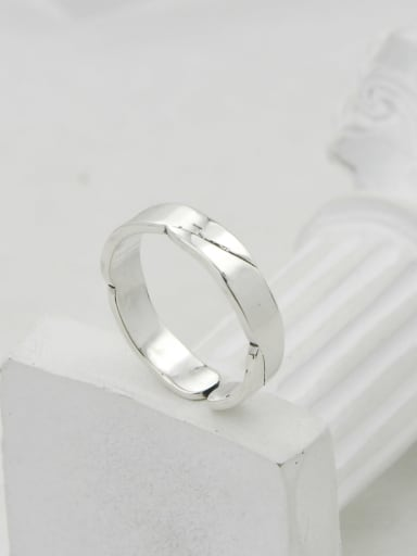 Vintage  Sterling Silver With White Gold Plated Simplistic Irregular Free Size Rings