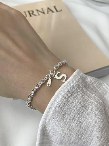925 Sterling Silver Minimalist Dollar symbol Link Bracelet