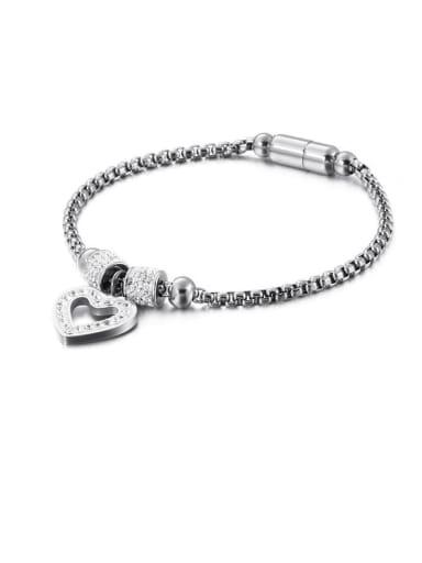 platinum Titanium Cubic Zirconia White Heart Minimalist Adjustable Bracelet