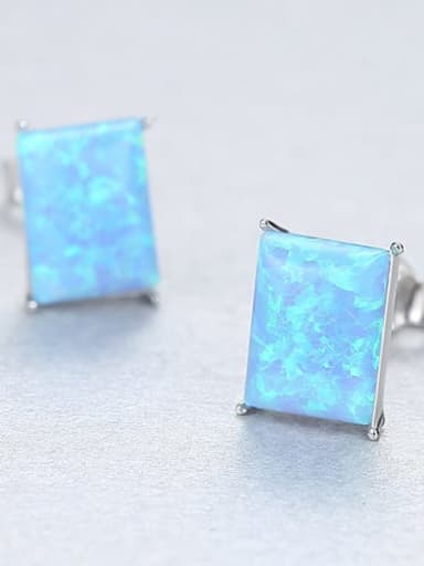 Blue 18F03 925 Sterling Silver Opal Blue Square Minimalist Stud Earring