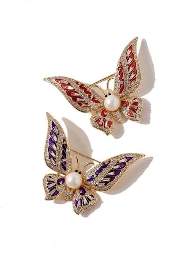 Copper Cubic Zirconia Multi Color Enamel Butterfly Luxury Brooches