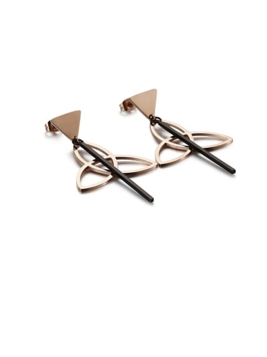 rose black Stainless Steel Hollow Triangle Minimalist Drop Earring