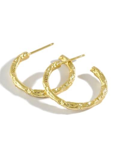 925 Sterling Silver Round Vintage Hoop Earring