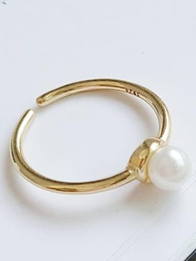 925 Sterling Silver Imitation Pearl  Irregular Minimalist Free Size Midi Ring