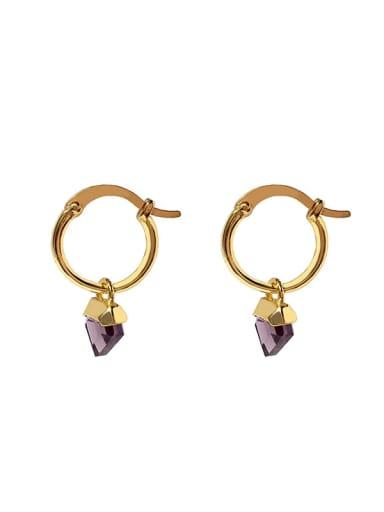 gold+purple Copper Glass stone Triangle Dainty Huggie Earring