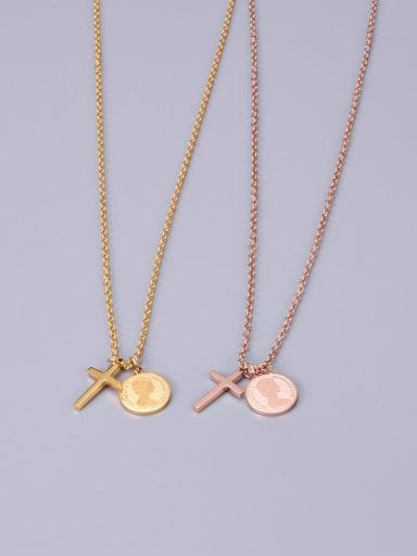 Titanium  Retro  Coin Cross Necklace