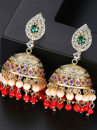 Red t04g27 Copper Cubic Zirconia Multi Color Bell Ethnic Drop Earring