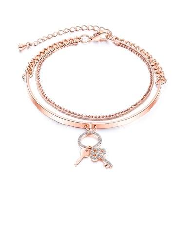 1000-Bracelet Copper Rhinestone White Key Minimalist Bangles