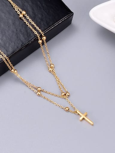 Titanium Bead Cross Classic Multi Strand Necklace
